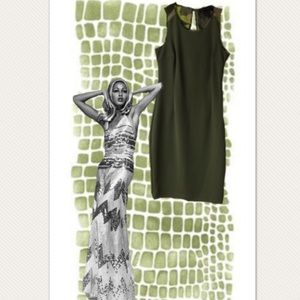 Kardashian Kollection Olive Green Fitted Dress